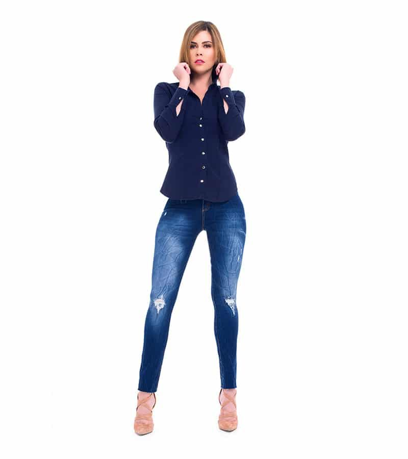 Camisa Slimfit Azul Be You by Natasha Fonte