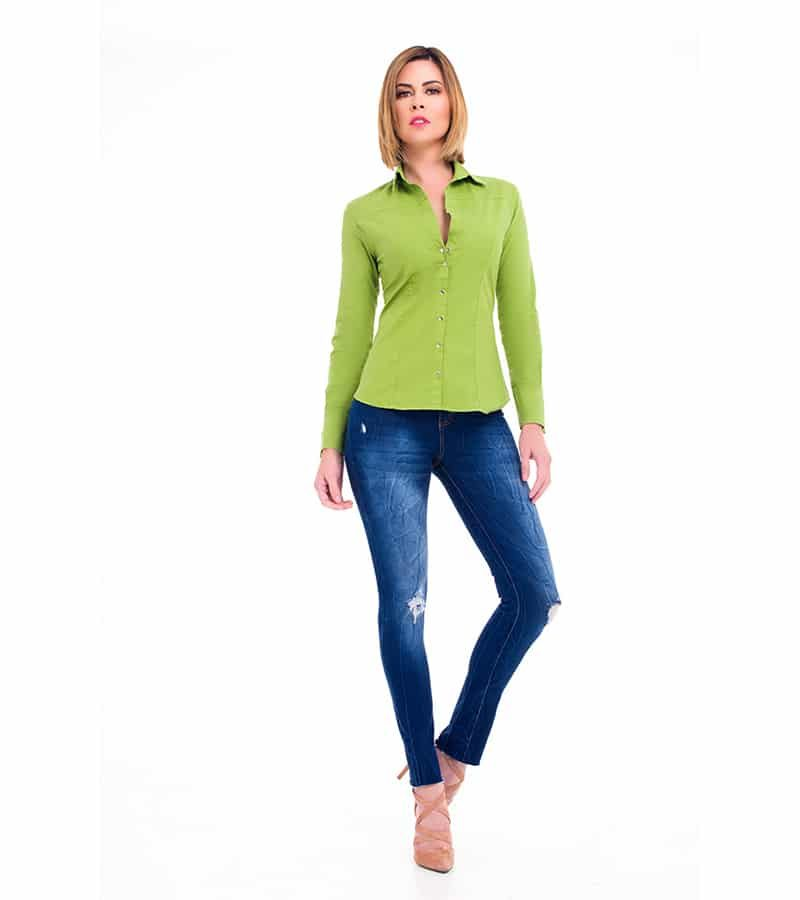 Camisa Slimfit Verde Be You by Natasha Fonte