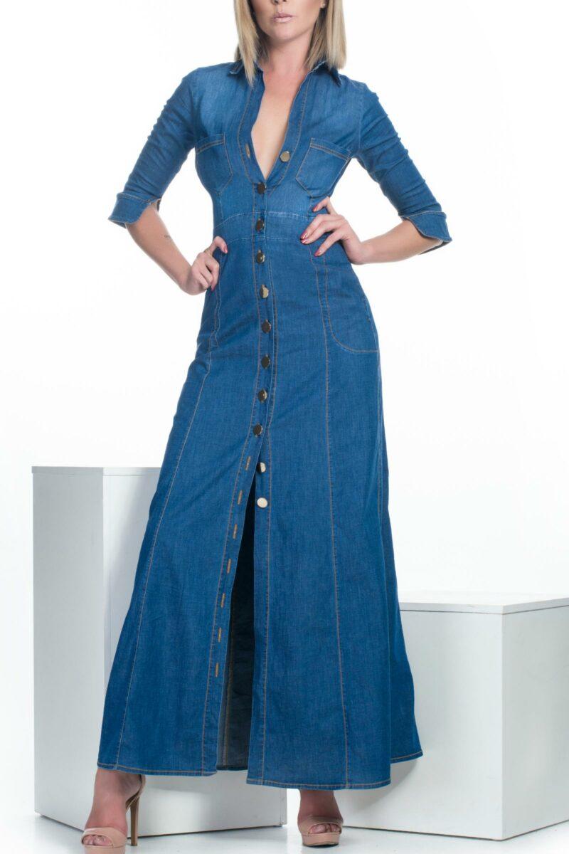 Vestido Denim Maxi